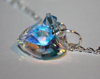 Heart Necklace, Heart Pendant, Swarovski Heart Pendant, Swarovski Bicone Crystal Silver Plate Chain Lobster Claw Clasp