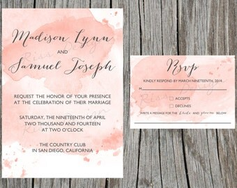 Wedding Invitation with watercolor effect - printable / custom colors