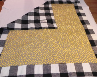 Plaid w/Yellow Polka Dots Cotton Print Flannel baby blanket