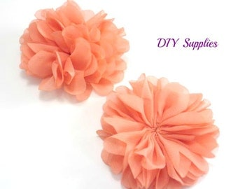 Light coral chiffon flower - 2.5 inch fabric flower - Ballerina ruffle flower - wholesale flowers - hair flower - appliqué flower
