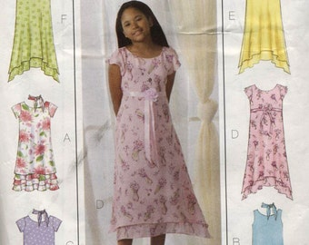 Girls Dress and Scarf Butterick B4435 Sewing Pattern Sizes 7,8,10  Used