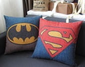 Linen Cotton Pillow Cover BATMAN SUPERMAN hero  Home Decor  Cushion Cover houseware Cotton Linen pillow cover P028-P029 PC