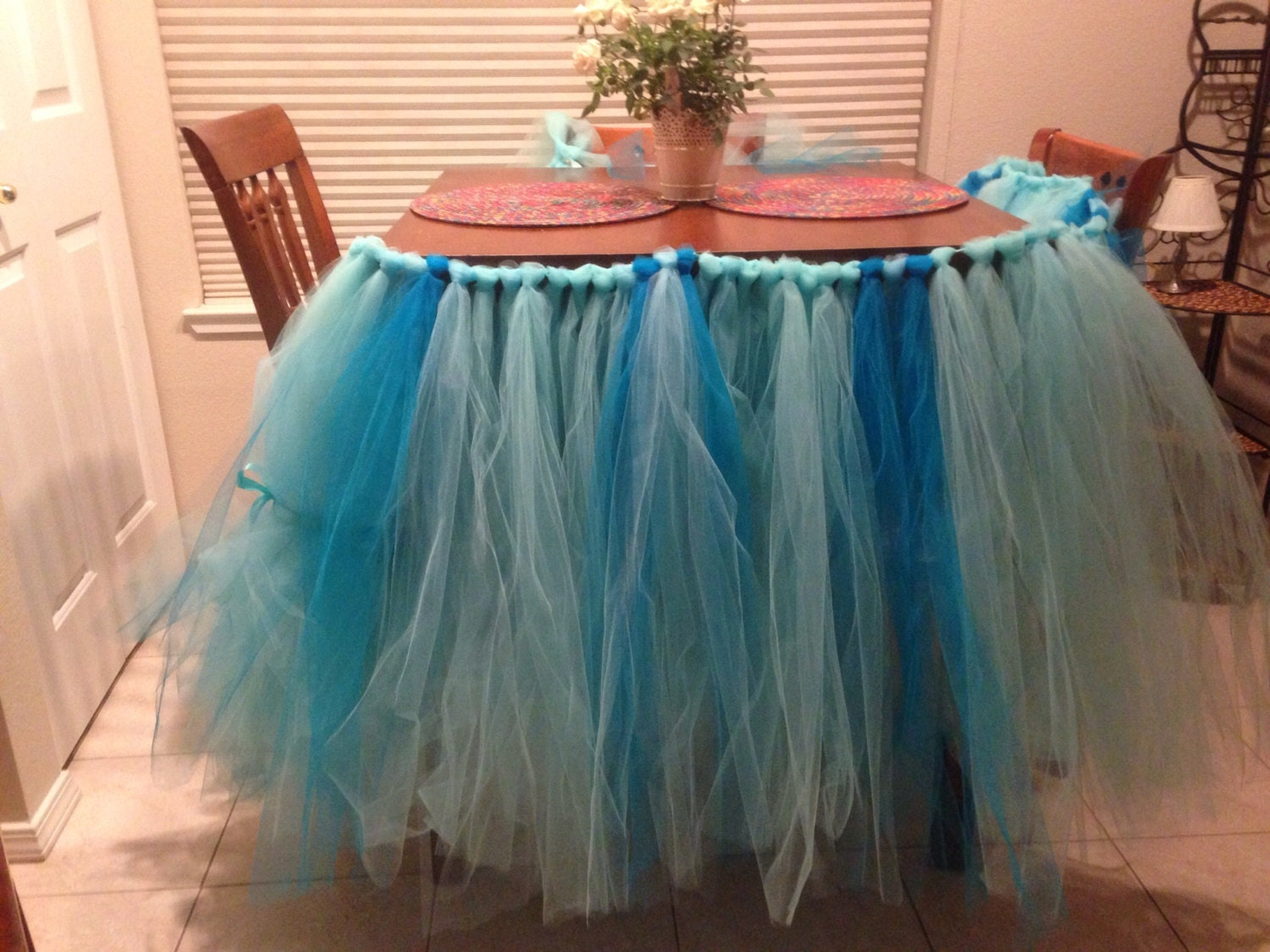 custom tulle tutu table skirt blue aqua and white