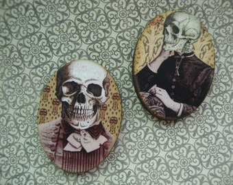 His and Hers Skeleton Brooches - The Family Plot 4 - Macabre Skeleton Assemblage Brooches with Colorful Illustrations of Skeleton Couples