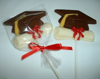 Graduation Cap and Diploma Chocolate Lollipop