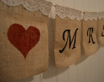 Customizable Burlap and Lace Wedding Banner, Mr and Mrs Burlap Banner, Burlap Chair Signs