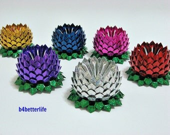 Lot of 6pcs Medium Size Origami Lotus In 6 Different Colors. (4D Glittering Paper Series).