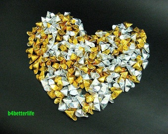 "200pcs Medium Size Gold & Silver Color Glittering 3D Origami Hearts ""LOVE"". (4D Glittering Paper Series). #FOH-111."