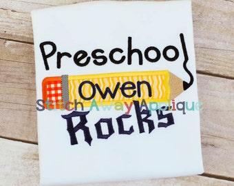 Preschool Rocks Back to School Machine Applique Design