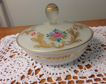 Vintage Floral Covered Vanity Dish with Gold Trim
