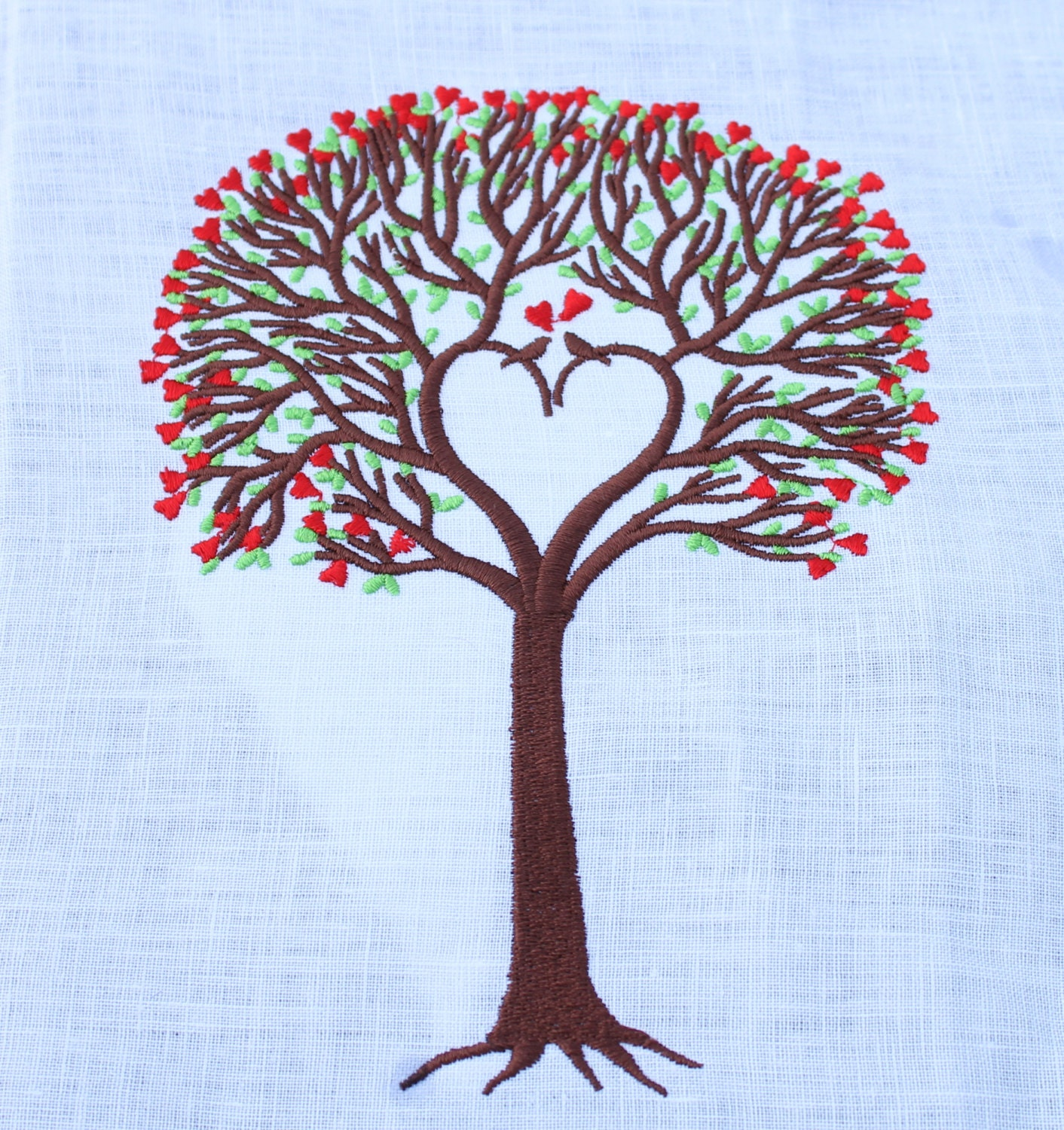 Love tree embroidery design with two love birds perfect for zoom bankloansurffo Choice Image