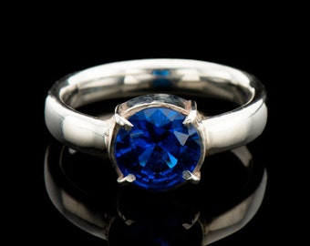 Lab created sapphire ring in sterling silver, blue sapphire silver ring  December birthstone ring, Blue engagement ring,