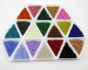 Set of 20 colors Cross Stitch Embroidery Glass Bead DIY kit