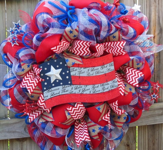 Patriotic Deco Mesh Wreath Memorial Day Deco Mesh Wreath 4th
