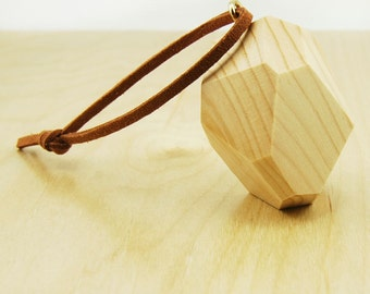 Faceted Wood Ornament | Natural