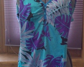 1980s vintage Maxine of Hollywood blue, green and purple palm leaves swimsuite/ swimwear