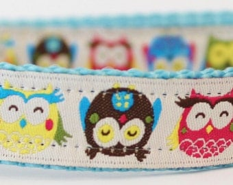 Colorful Owls Dog Collar/Adjustable Collar/Nature Dog Collar/Hoot