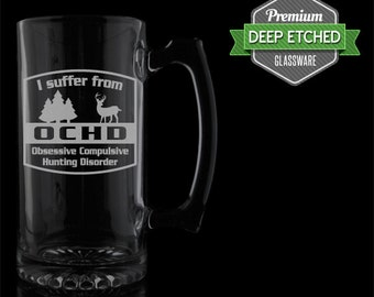 Hunting Design, Home Bar Large Beer Mugs, 26.5 oz Etched Mugs