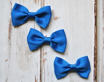 "Royal Blue Tuxedo Bows 3pc - 2.5"" inch - hair accessory - bow appliques - grosgrain bows"