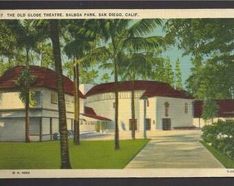 Vintage Linen Postcard The Old Globe Theater, Balboa Park, San Diego, California  (125a)