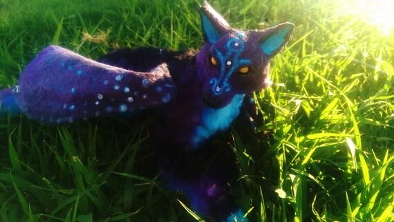 Handmade Poseable Midnight Wolf 20% off