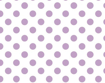 Medium Lavendar Dots on White Cotton Fabric by Riley Blake Designs 1/2 Yard C490-120 LAVENDAR