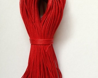 1.5mm Red Cotton Waxed Cord Size 1.5mm Length 100yds per bundle
