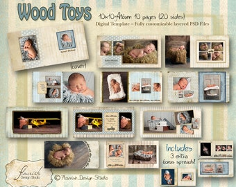10x10 Album template for photographers - Wood Toys Baby Boy Album