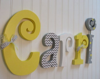 Nursery letters, Nursery wall hanging letters, Yellow, White  & Gray nursery decor, nursery wall letters