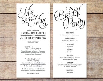 Simple Wedding Program - Customizable - Elegant Design - Simple Classic Wedding - Black and White Wedding - Printable Digital Program
