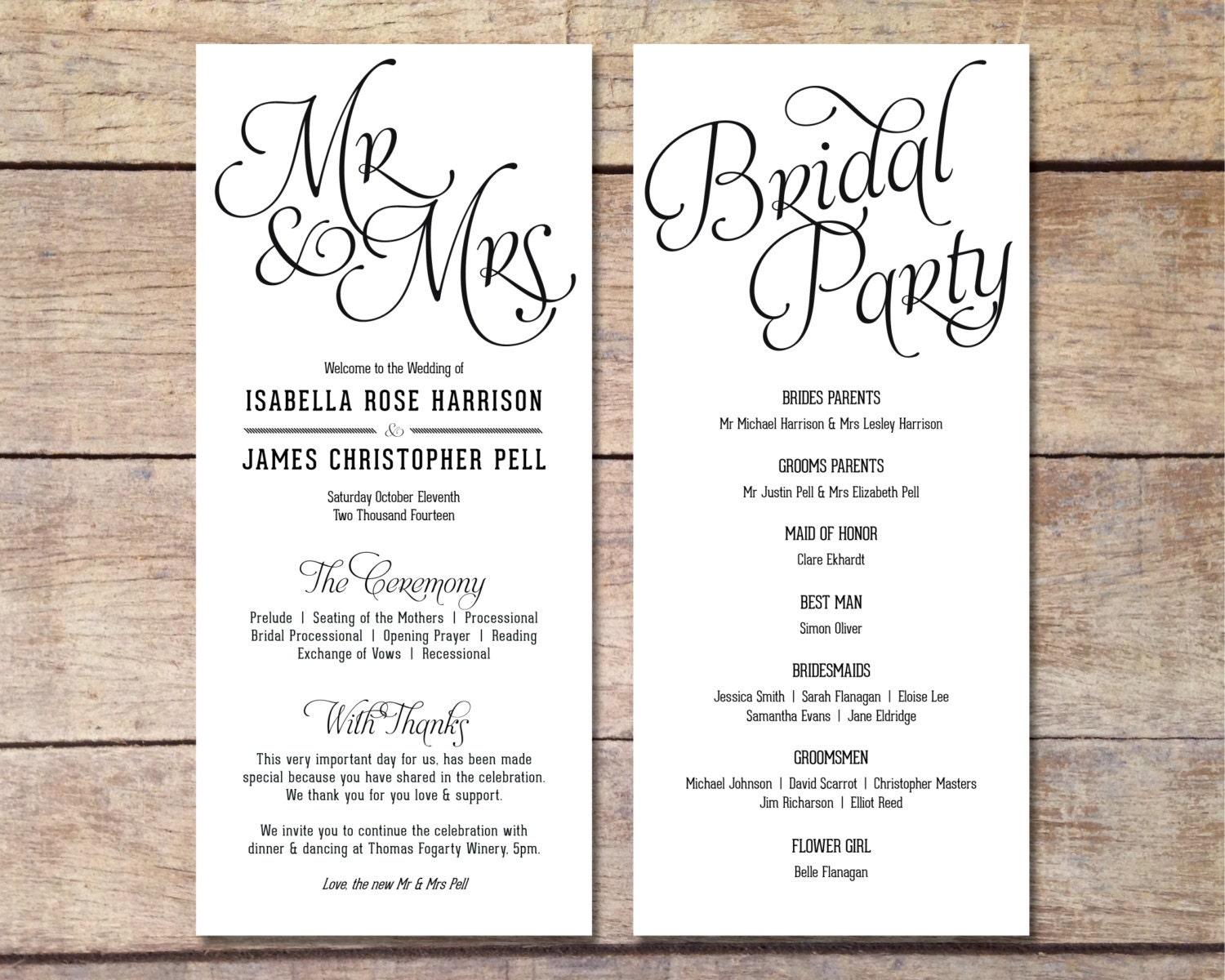 wedding black and white wedding printable digital program