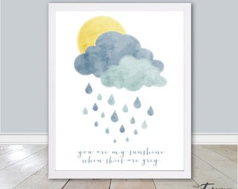 You are my Sunshine Print Quote INSTANT DOWNLOAD 8x10 Print Children's Wall Art, Nursery Printable, Lullaby Quote Print, Childrens DIY Print