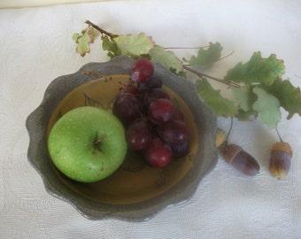 Ceramic bowl, Gray and Yellow, Serving dish,Salad bowl, Hand carved Sgraffito.