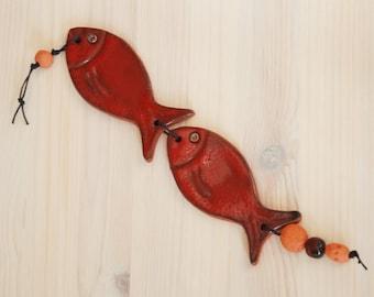 Fish Ornament, red fish, Ceramic fish wall decor, Ceramic Beach Decor, Wall Hanging Fish, Home Decor Wall Hanging, Wall Decor, Wall Hanging