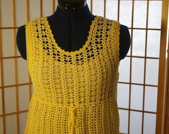 Sunlight Yellow Hand Crocheted Dress