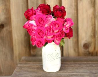 Wedding Centerpiece Mason Jar -XTRA LARGE / Distressed White Flower Glass Vase / Shabby Chic Wedding Decor for Country Style Weddings