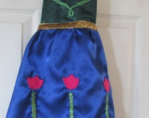 Child's Popular Dress Up Apron - Pink Tulips on Blue Skirt and Green bodice