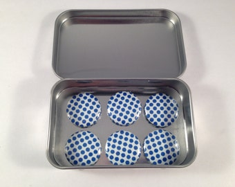 Blue Polka Dot Magnet Set