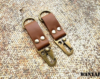 Leather keychain, leather key fob, keyring with trigger hook, WR 017