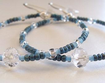 Hoop Earrings, Beaded Earrings, Boho Earrings, Denim Blue, Gypsy Earrings, Bohemian Earrings