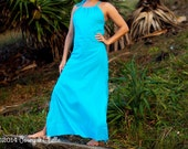 Long Summer Maxi Dress, 100% Cotton,  Choose Your Colour Fabric~ Orange, Pink, Magenta, Royal Blue, Aqua Blue, Turquoise, White, Black.