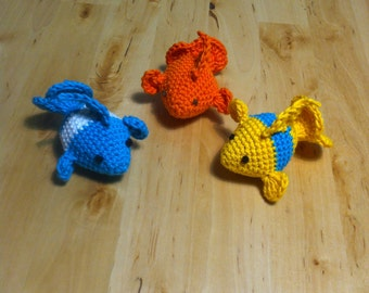 Fish cat/ferret toys with bells.  Set of 3.
