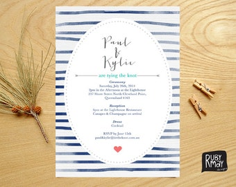 Nautical Wedding Invitation, Striped Invitation - digital/printed, beach wedding invite, navy blue stripes, watercolour, irregular stripes