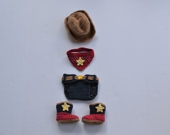 Handmade crochet cowboy set; cowboy hat, cowboy boots, bandana and jean diaper cover; baby boy photography prop; baby shower gift
