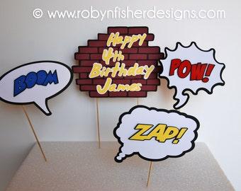 Superhero Birthday 4 pc. Centerpiece for your Superhero Party!