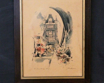 "John Haymson Framed Print The Tower Bridge London 17.5"" x 21.5"""
