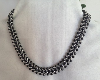 Black and Silver Seed Bead Spiral Necklace
