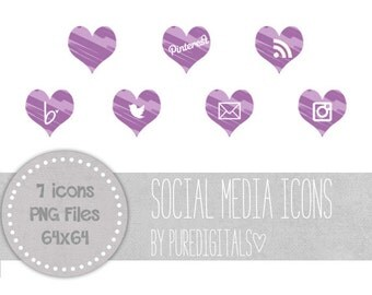 Purple Hearts Social Media Buttons, Purple Blog Buttons, Purple Social Media Icons, Cute Social Media Buttons, Website Icons