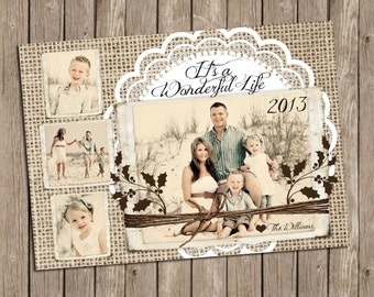 Burlap and Lace Christmas Holiday Photo Card - printable 5x7