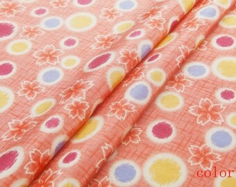Pure mulberry silk crepe de chine fabric—silk fabric, cute dots, small floral print,brown,pink for coat, top,dress, skirt, craft by the yard